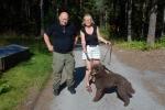 Ett glatt ekipage Kicki med Miro som blev viltspårschampion 20090808