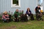 Speja och Håkans valpar fr.v. Arti, Jack, Speja, mormor Zottie,Teddy och morfar Ole